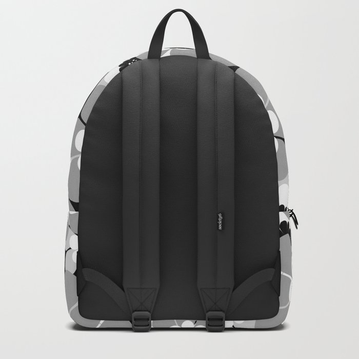 The floral pattern . black, grey , white . Backpack