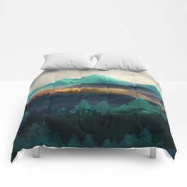 Green Wild Mountainside Comforters