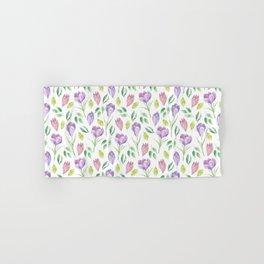 Crocus Purple Watercolor Spring Floral Pattern White Hand & Bath Towel