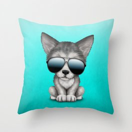 Cute Baby Wolf Cub Wearing Sunglasses Throw Pillow