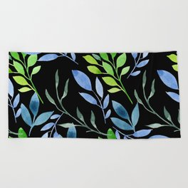 Blue and Green Leaves Beach Towel