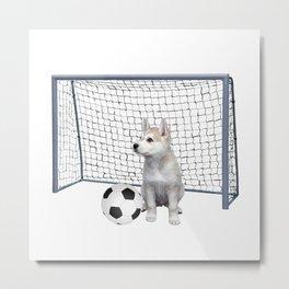 Husky Puppy Dog - soccer goal Metal Print
