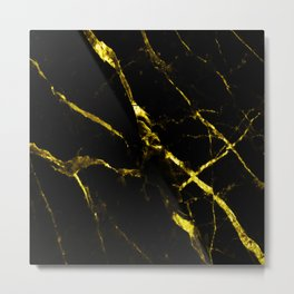 Black ad gold faux marble Metal Print