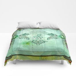 Music, decorative clef with floral elements Comforters