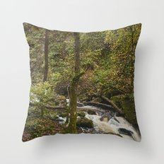 Lodore Falls waterfall after heavy rain. Borrowdale, Cumbria, UK. Throw Pillow