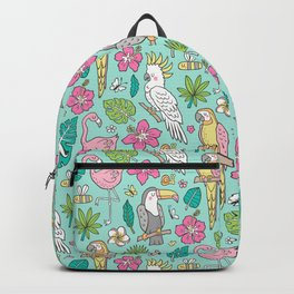 Tropical Jungle Birds Toucan Flamingo and Pink Hibiscus Floral Flowers Leaves Paradise Mint Backpack