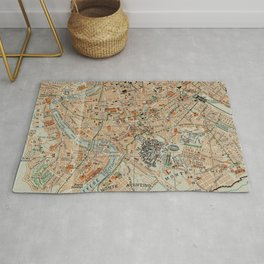 Vintage Map of Rome Italy (1911) Rug