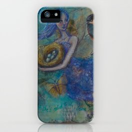 """""""Flower fairy"""" an original mixed media painting by Katrina Koltes iPhone Case"""