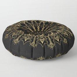 Golden Bee Mandala Floor Pillow