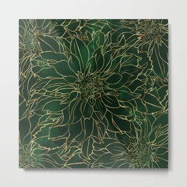 Gold and Green Dahlia Flower Metal Print