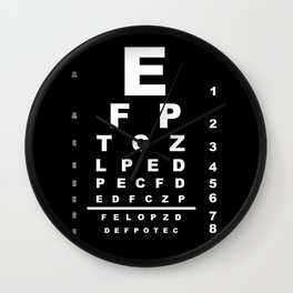 Inverted Eye Test Chart Wall Clock