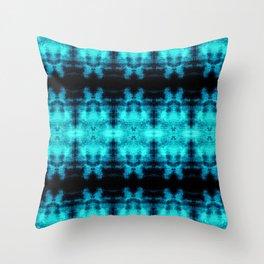 Turquoise Blue Black Diamond Gothic Pattern Throw Pillow