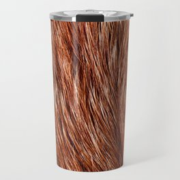 Red fox fur closeup textured cloth abstract Travel Mug