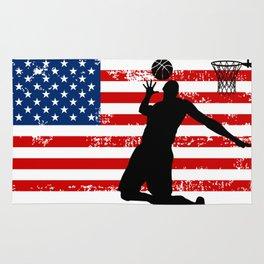 USA American Flag Basketball Basketball Player Gift Rug