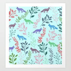 Watercolor Floral & Fox Art Print