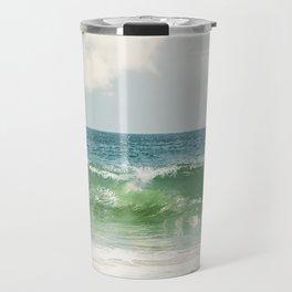 Ocean Sea Landscape Photography, Seascape Waves, Blue Green Wave Photograph Travel Mug