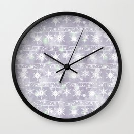 Openwork white snowflakes on light grey. Wall Clock
