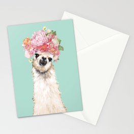 Llama with Flowers Crown #3 Stationery Cards