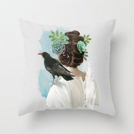 Girl&bird Throw Pillow