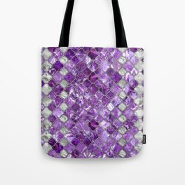 Quatrefoil Moroccan Pattern Amethyst and silver Tote Bag