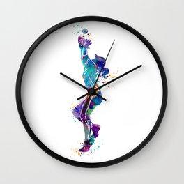Girl Baseball Player Softball Fielder Colorful Watercolor Art Wall Clock