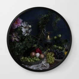Classic  still life with flowers, fruit, vegetables and wine Wall Clock
