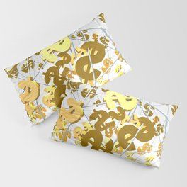 Golden dollar sign Pillow Sham