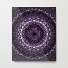 Detailed mandala in gray and violet tones Metal Print