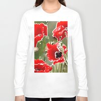 poppies Long Sleeve T-shirts featuring Poppies by Regan's World