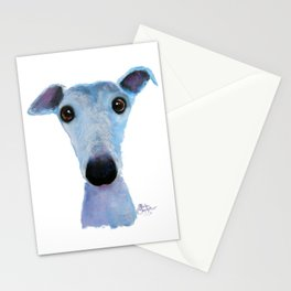 Nosey Dog Whippet Greyhound ' BLUEBELL ' by Shirley MacArthur Stationery Cards