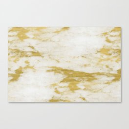 Marble - Shimmery Gold Marble and White Canvas Print