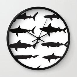 Shark Silhouettes Wall Clock