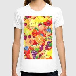 Flat fruits seamless pattern. Flat Illustrations of watermelon, banana, cherry, apple T-shirt