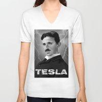 tesla V-neck T-shirts featuring Nikola Tesla by San Fernandez