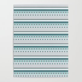 Squares and Stripes in Teal and Gray Poster