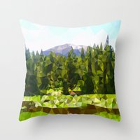 forrest Throw Pillows featuring Forest Green by IvanaW