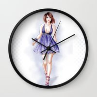 fashion illustration Wall Clocks featuring Fashion illustration by Tania Santos