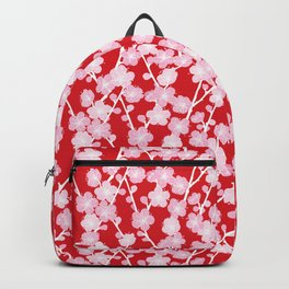 Red Cherry Blossom Pattern Backpack