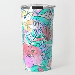 Pretty Pastel Hawaiian Hibiscus Print Travel Mug
