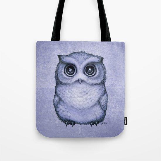 """The Little Owl"" by Amber Marine ~ (Lavender Flower Version) Graphite & Ink Illustration, (c) 2016 Tote Bag"