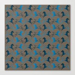 Blue Brown War Horse Canvas Print