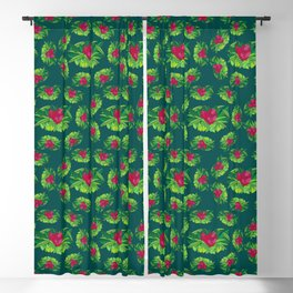 Red Ginger Tropical Bouquet Blackout Curtain