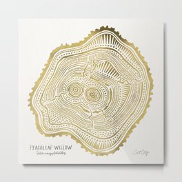 Peachleaf Willow – Gold Tree Rings Metal Print