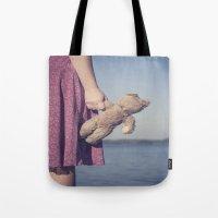 teddy bear Tote Bags featuring Teddy by Maria Heyens