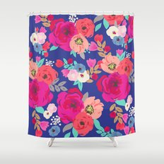 Sweet Pea Floral Blue Shower Curtain