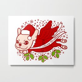 Christmas with a Frenchie Metal Print
