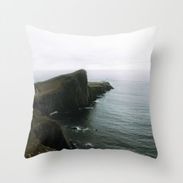 Neist Point Lighthouse II - Landscape Photography Throw Pillow