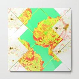 Abstract Geometric Pop Green Peonies Flowers Design Metal Print