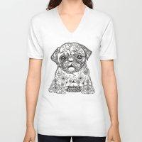 persian V-neck T-shirts featuring Persian Pug by Huebucket