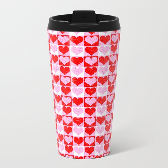 Love Heart Red Pink and White Check Pattern Metal Travel Mug